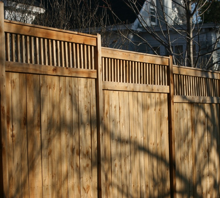 AmeriFence Corporation Kansas City - Wood Fencing, 1054 Custom Solid with Accent Top