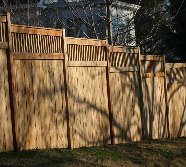 AmeriFence Corporation Kansas City - Wood Fencing, 1055 Custom Solid with Accent Top