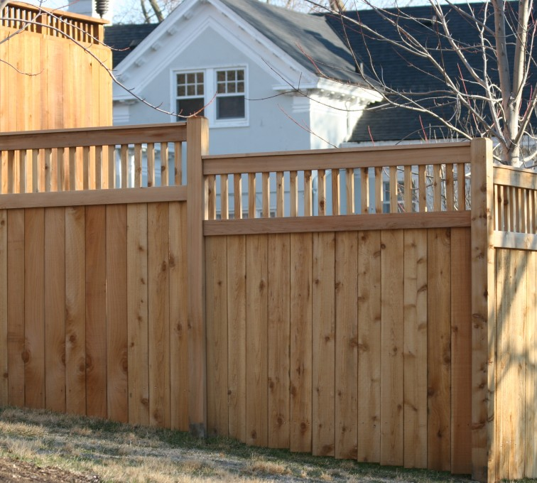 AmeriFence Corporation Kansas City - Wood Fencing, 1056 Custom Solid with Accent Top