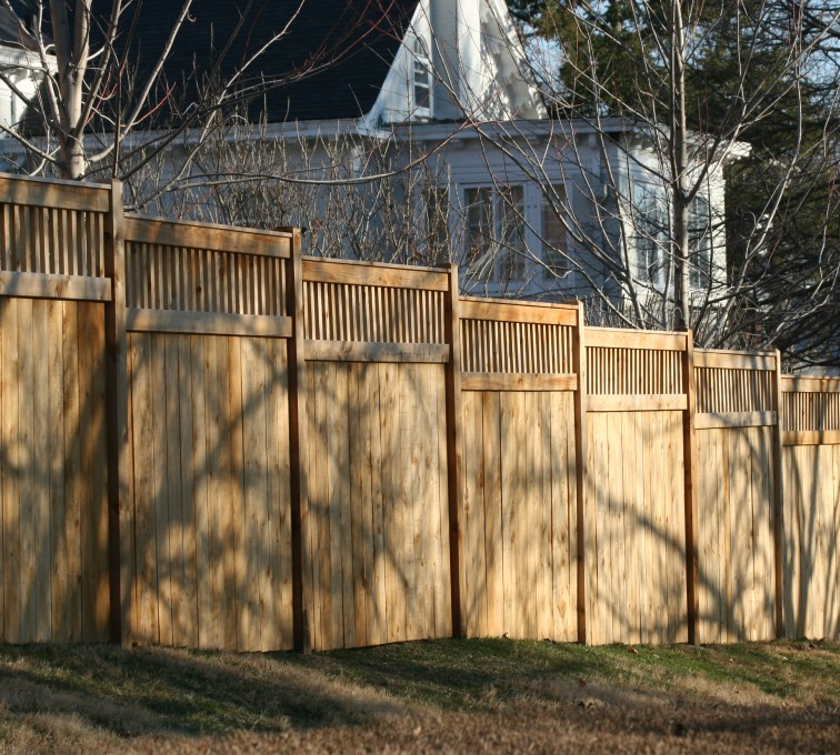 AmeriFence Corporation Kansas City - Wood Fencing, 1057 Custom Solid with Accent Top