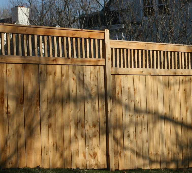 AmeriFence Corporation Kansas City - Wood Fencing, 1058 Custom Solid with Accent Top