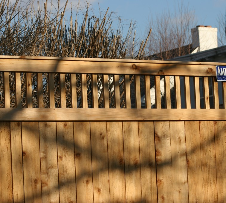 AmeriFence Corporation Kansas City - Wood Fencing, 1059 Custom Solid with Accent Top