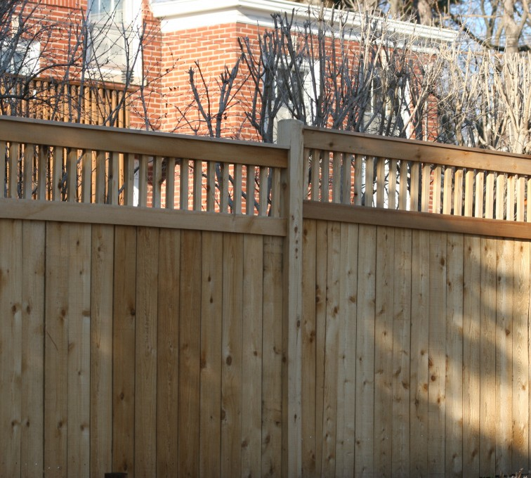 AmeriFence Corporation Kansas City - Wood Fencing, 1060 Custom Solid with Accent Top