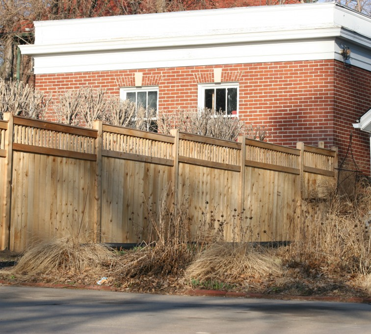 AmeriFence Corporation Kansas City - Wood Fencing, 1061 Custom Solid with Accent Top