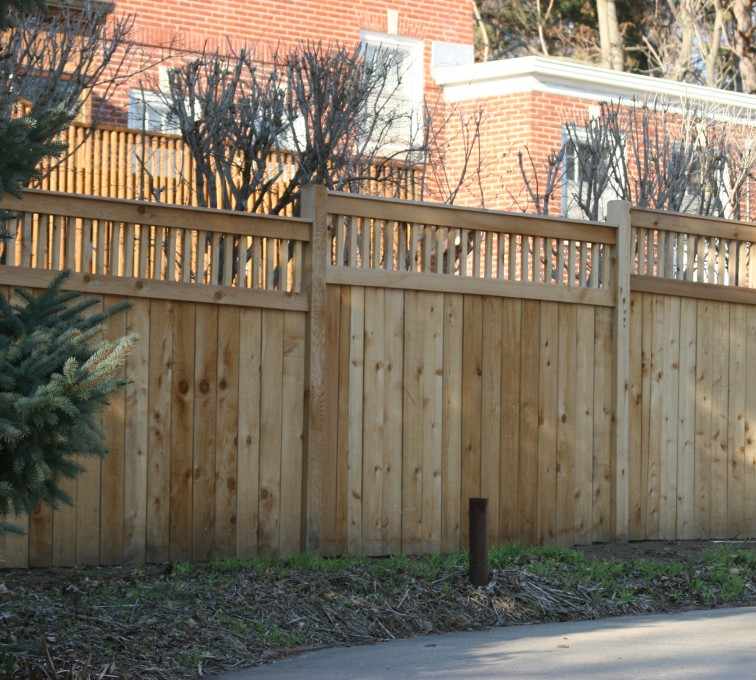 AmeriFence Corporation Kansas City - Wood Fencing, 1062 Custom Solid with Accent Top