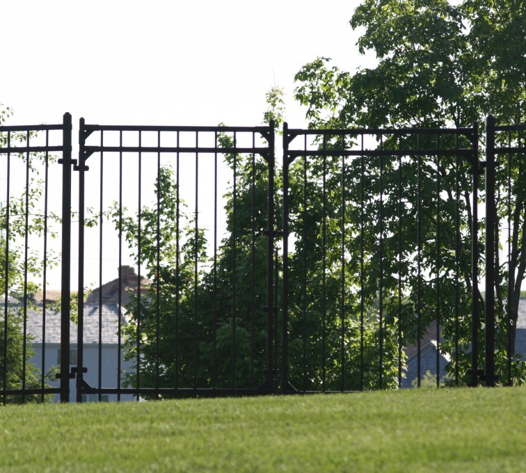 AFC Grand Island - Ornamental Fencing, 1063 6' Flat Top 3 rail double drive gate