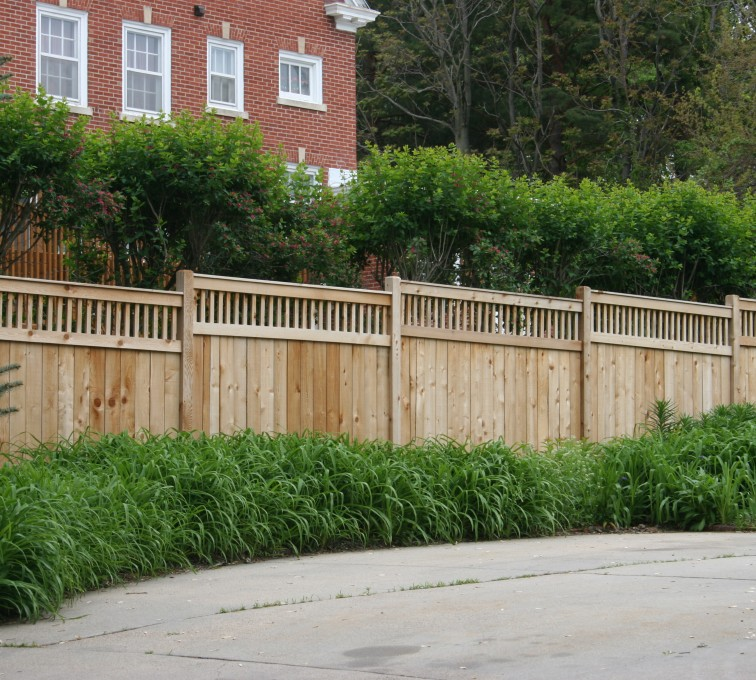 AmeriFence Corporation Kansas City - Wood Fencing, 1063 Custom Solid with Accent Top