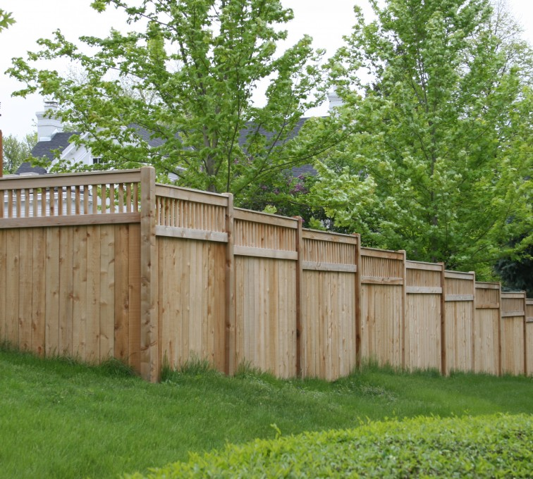 AmeriFence Corporation Kansas City - Wood Fencing, 1069 Custom Solid with Accent Top