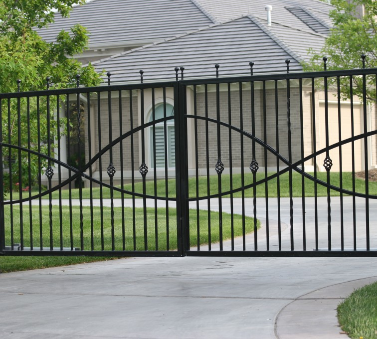 Kansas City Fence Company - Custom Gates, 1307 Estate gate with Jesus fish