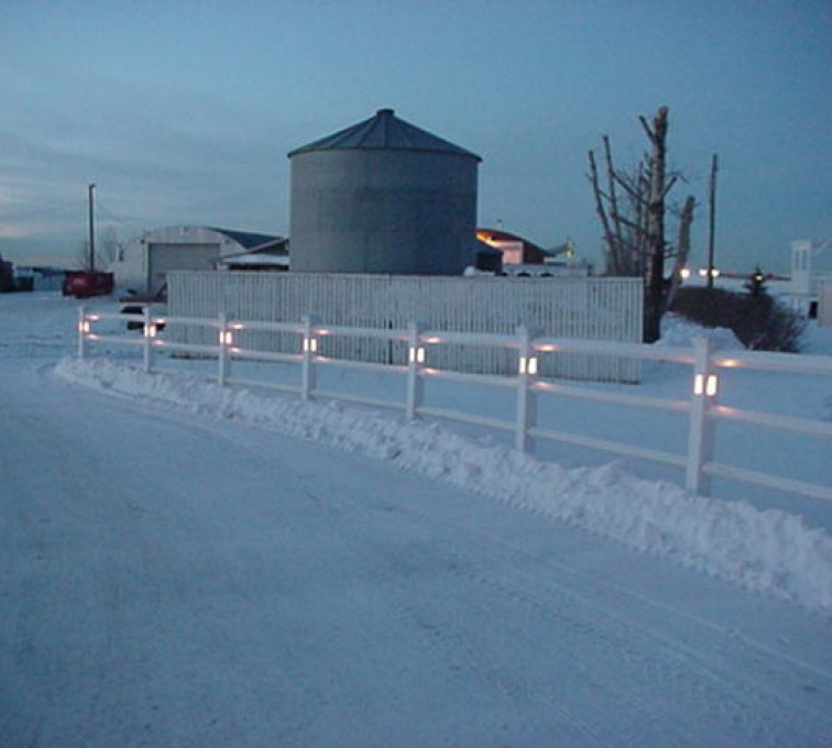 AmeriFence Corporation Kansas City - Vinyl Fencing, 2 Ranch Rail with lighted posts (950)