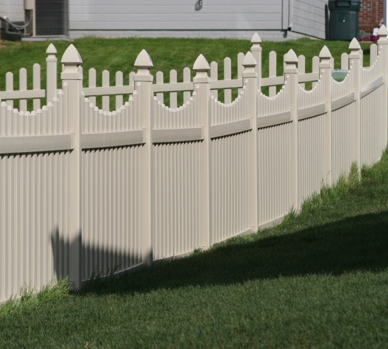 AmeriFence Corporation Kansas City - Vinyl Fencing, 4' Picket Underscallop Tan 552