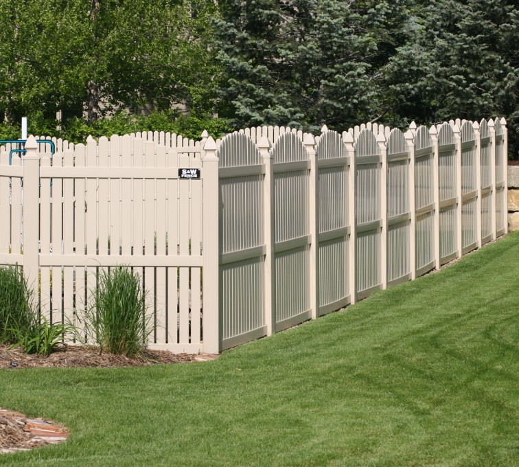 AmeriFence Corporation Kansas City- Vinyl Fencing, 6' overscallop picket tan 554