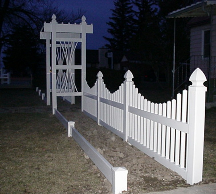 AmeriFence Corporation Kansas City - Vinyl Fencing, 566 Underscallop with Arbor 2