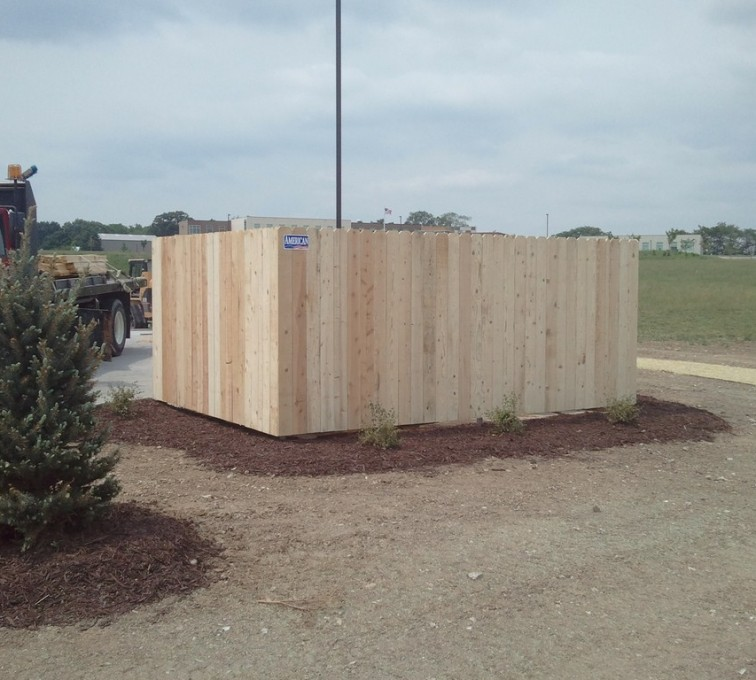 AmeriFence Corporation Kansas City - Wood Fencing, 6' Solid Dumpster Enclosure - AFC - IA