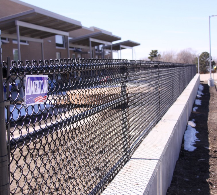 AFC Grand Island - Chain Link Fencing, Black Vinyl Chain Link Track Fence