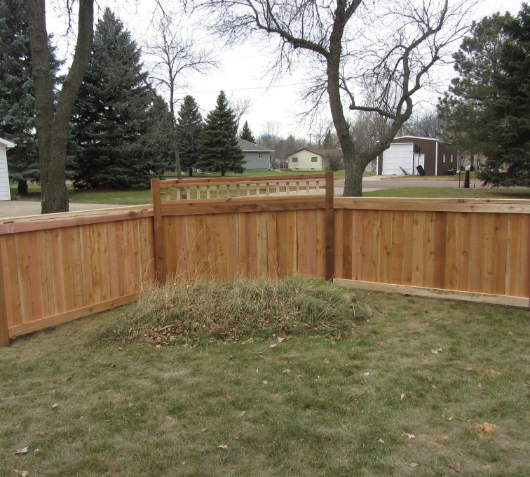 AmeriFence Corporation Kansas City - Wood Fencing, Decorative Cedar Privacy with Picket Accent AFC, SD