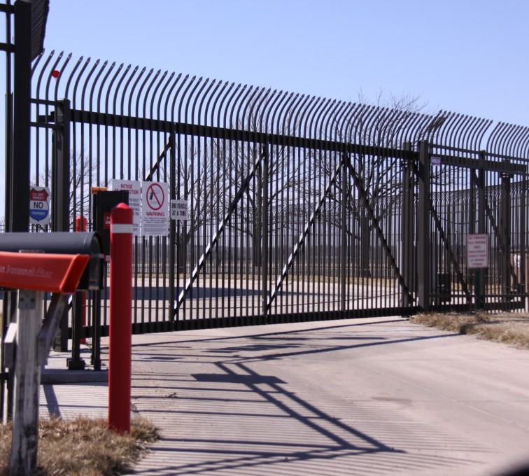 Kansas City Fence Company - Custom Gates, Ornamental Slide Gate with Radius Picket Accent