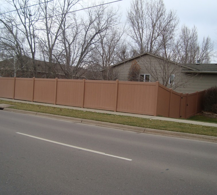 AmeriFence Corporation Kansas City - Vinyl Fencing, Solid Privacy Cedar Tone