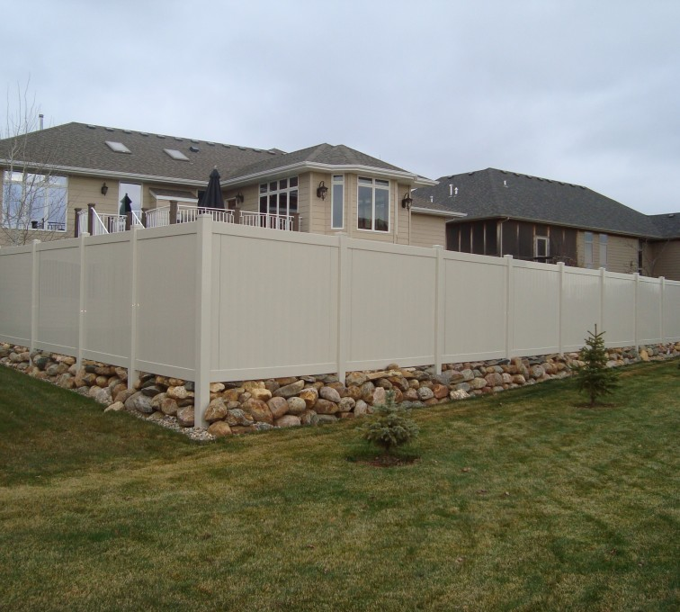 AmeriFence Corporation Kansas City - Vinyl Fencing, Solid Privacy - Sandstone