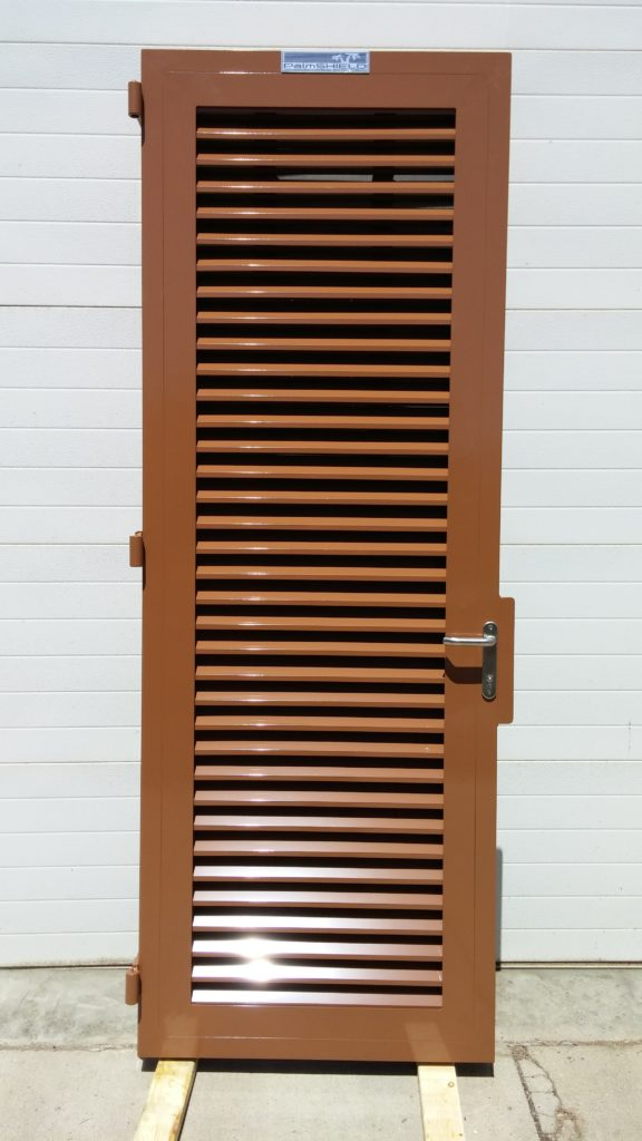 Industrial swing gate with a brown powder coating